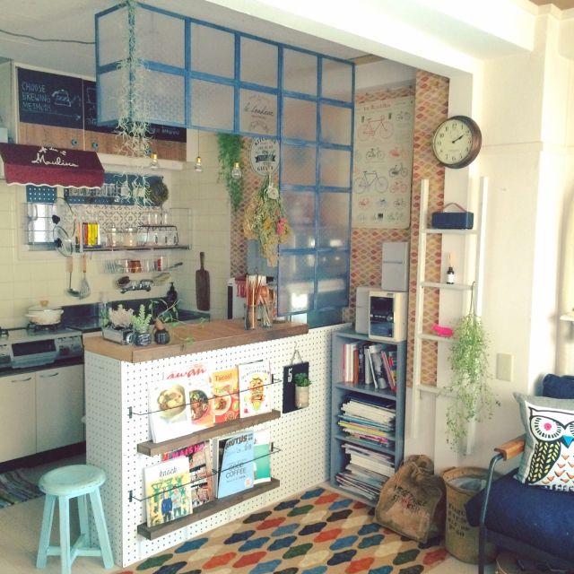 kimuayaさんの、セリア,100均,模様替え,カフェ風,DIY,キッチンカウンター,キッチン,のお部屋写真