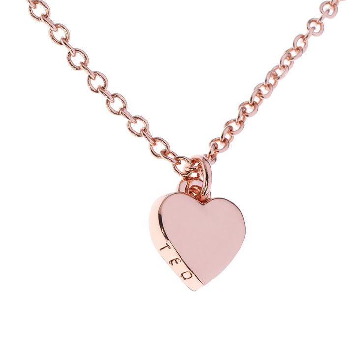 Hara Rose Heart Pendant by Ted Baker. Tiny heart pendant finished in rose gold. Supplied with signature gift packaging.
