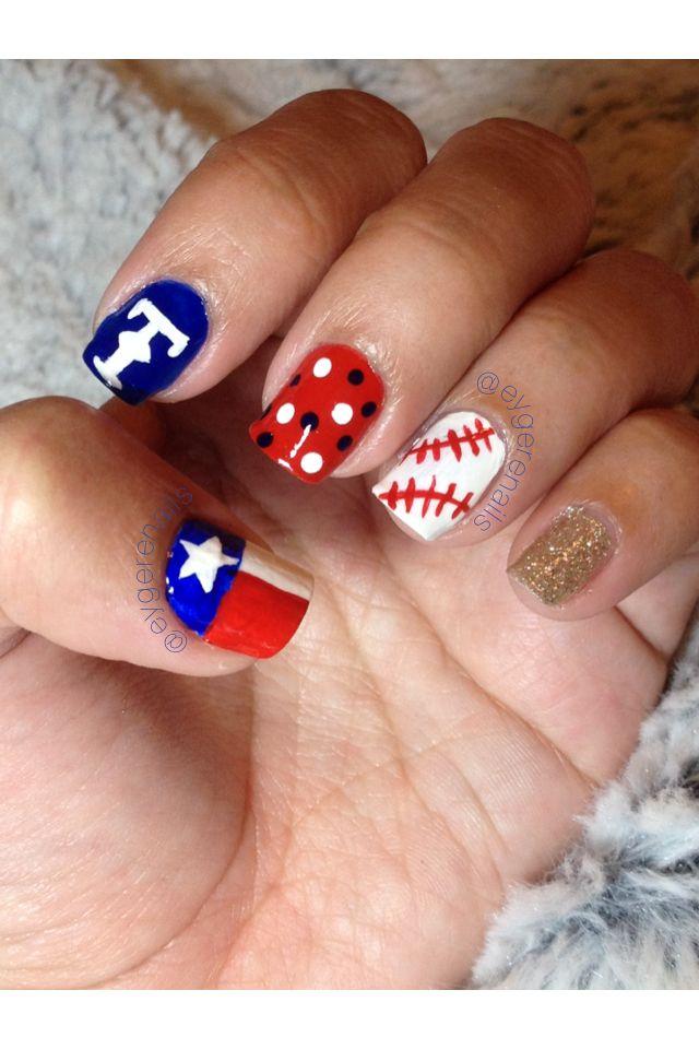 Texas Rangers Opening Day 3/30/14 #naturalnails #naillove #nailart #fortheloveofnails #instanails #notd #nailsofinstagram #nails #nailstagram #diy #manicure #nailaddict #ignails #nailsdid #naildesign #nailpromote #nailartpromote #eygerenails