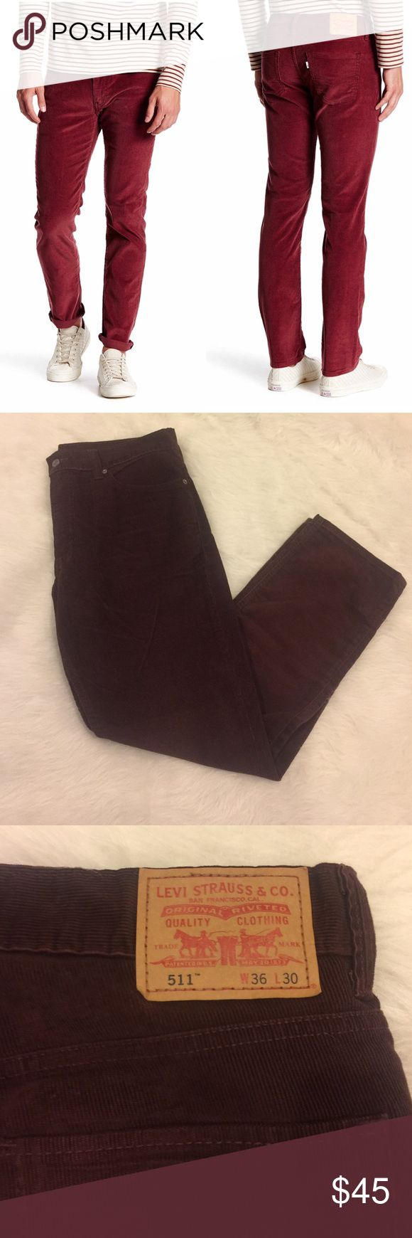 [Levi's] •Men's Corduroy 511 Pants• Only worn once, in great condition. Not the same color at the stock photo these are more of a deep maroon/almost brown color. Very soft! Waist: 36/Length: 30. 67% Cotton / 33% Polyester. Levi's Pants Corduroy