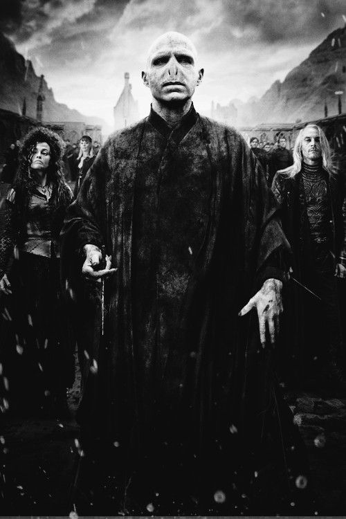 This is Voldemort and his two main Death Eaters, Bellatrix Lestrange (left) and Lucious Mlafoy (right, also Draco's father).