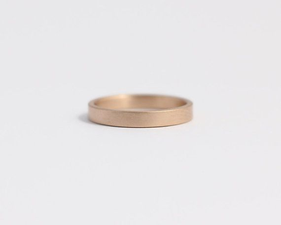 Engagement Ring or Wedding Band in Ethical Matte Gold 14ct Ethical Rose Gold 3mm