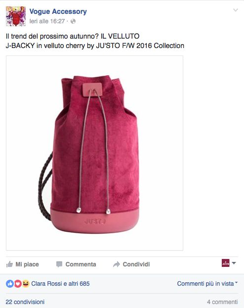 J-BACKY di JU'STO sulla pagina Facebook di VOGUE ACCESSORY https://www.facebook.com/VogueAccessoryOfficial/photos/a.483219905068180.110109.483145365075634/1094446890612142/?type=3&theater