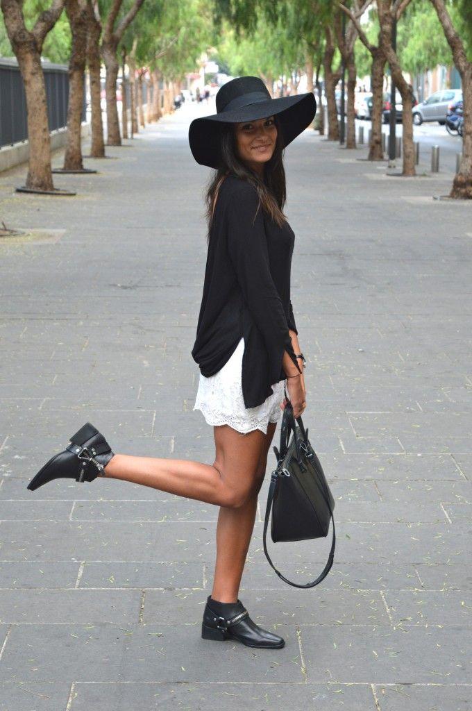jupe dentelle dos nus zara chapeau tenue mode id e noir. Black Bedroom Furniture Sets. Home Design Ideas