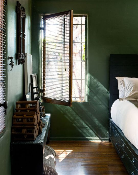The Color of the Moment is Hunter Green/ Apartment Therapy.    Cool & restful, and I like those under-bed drawers.