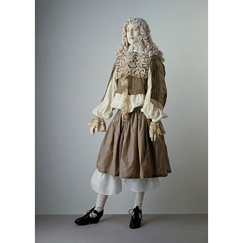 Doublet    Place of origin:  England, Britain (possibly, made)   France (possibly, made)    Date:  1660 (made)    Artist/Maker:  Unknown (production)    Materials and Techniques:  Watered silk lined with silk, trimmed with parchment lace    Museum number:  T.324-1980    Gallery location:  In Storage