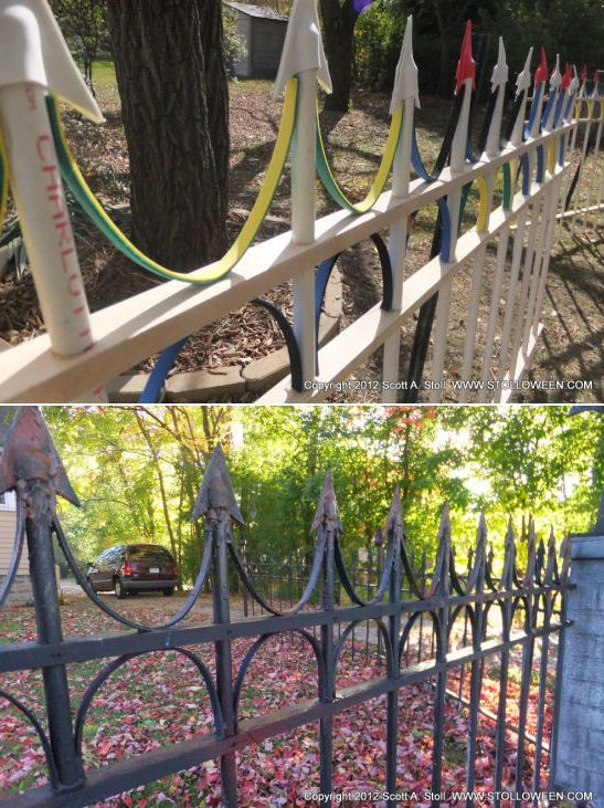 Tutorial:  Wrought Iron Cemetery Fence {stolloween.com} AWESOME AND EASY Using PVC, wood, foam board, hot glue, screws