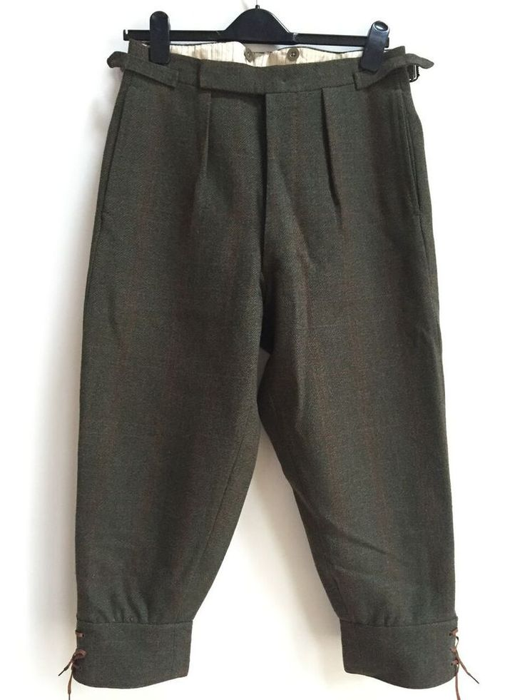 Green tweed plus fours country trousers with orange check