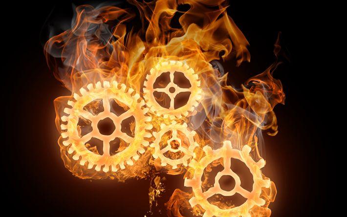 Download wallpapers gears, fire, flame, art, cogwheels