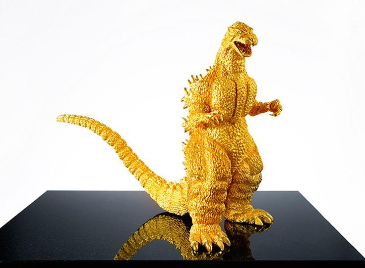 """$1.5M solid gold Godzilla (13.8 inches high), weighs 33 pounds. Modelled after 1989's  """"Godzilla vs.Biollante"""""""