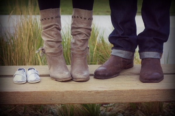 Perfection Possibilities. picture of baby shoes to tell people you're pregnant