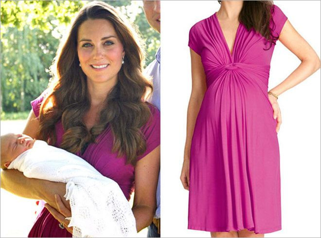 42e5ba8cc Seraphine Pink Fuchsia Knot Maternity Dress-Kate Middleton - Dress Like A  Duchess