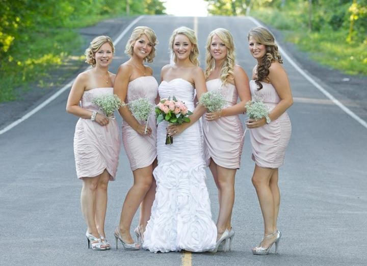 blush pink bridesmaids dresses silver shoes and babys