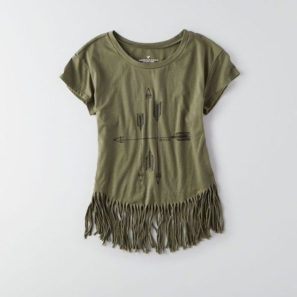 AEO Fringe Graphic T-Shirt ($20) ❤ liked on Polyvore featuring tops, t-shirts, fatigue olive, bohemian tops, american eagle outfitters t shirts, olive green t shirt, fringe t shirt and jersey t shirts