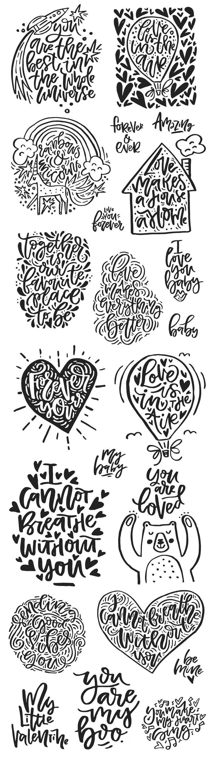 Valentine's Day Lettering Pack - Illustrations #lettering #vintage #overlay #quote #love #photo #handmade #DIY #photoshop #png #greeting #card #vector #photobook