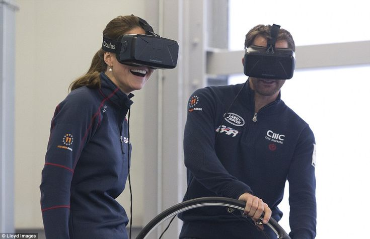 Virtual reality: The Duchess of Cambridge gets the giggles as she and Sir Ben Ainslie joke...