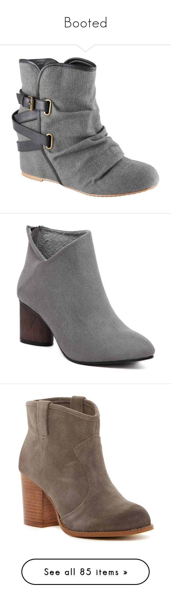 """""""Booted"""" by mrseclipse ❤ liked on Polyvore featuring shoes, boots, grey, sapatos, zapatos, rounded toe boots, hidden wedge boots, aldo, grey shoes and round cap"""