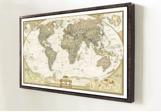 DisQounts - Wereldkaart - wereldkaart poster- vintage wereldkaart - afbeelding wereldkaart - 72,5 x 47,5 cm - Een mooie decoratie aan de muur - DisQounts