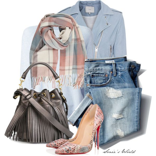 Printed Scarf by sonies-world on Polyvore featuring moda, J Brand, IRO, Christian Louboutin, Yves Saint Laurent, Gap, Louboutin, scarf and pastels