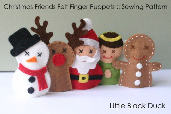 Pattern Christmas Friends Felt Finger Puppets by LittleBlackDuck, $5.00