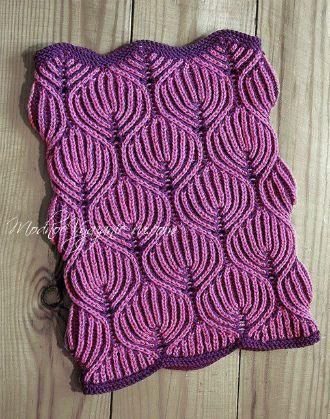 Снуд спицами *Листья* в технике бриошь - Модное вязание