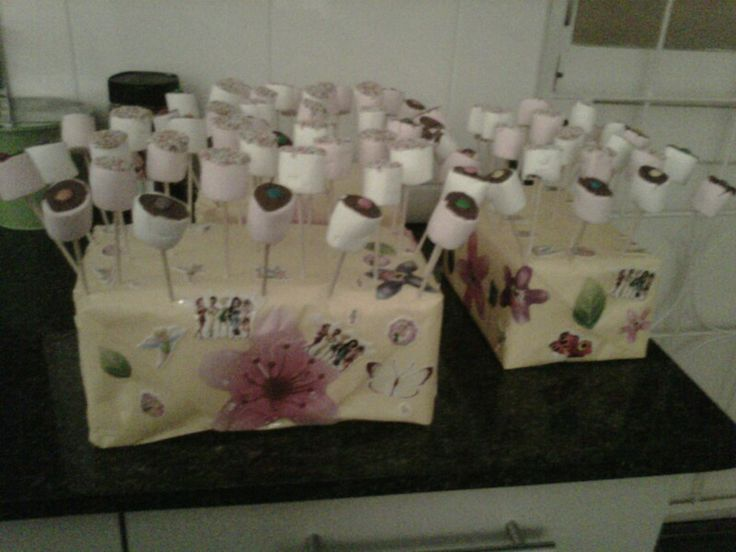 Party : Marshmallows dipped in chocolate and 100's & 1000's or smarties on the top