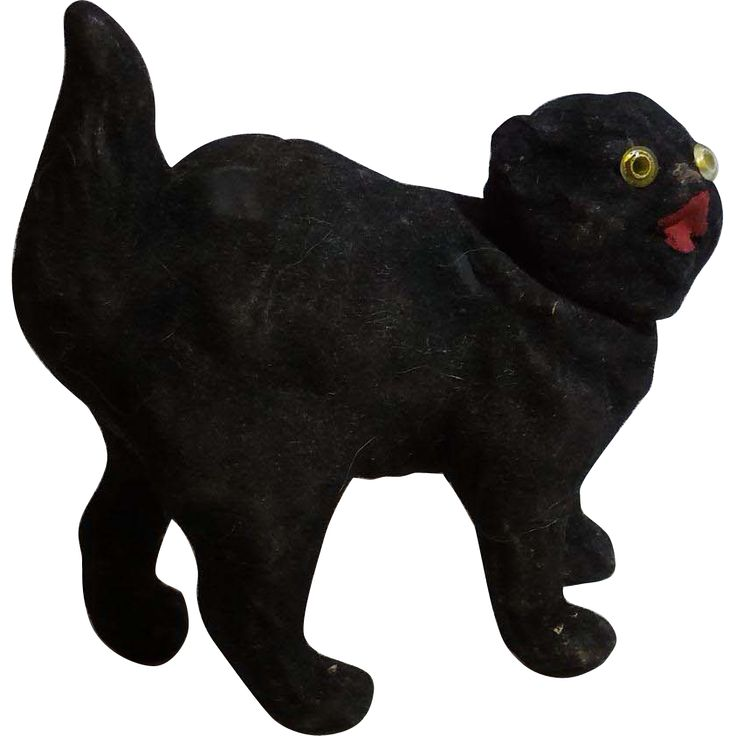 german black cat flocked candy container - Black Cat Halloween Decorations