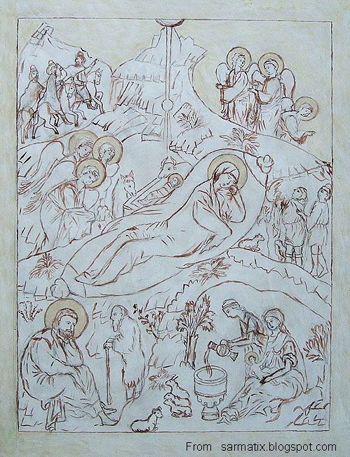 Nativity of God - sketch on a board for writing an icon.