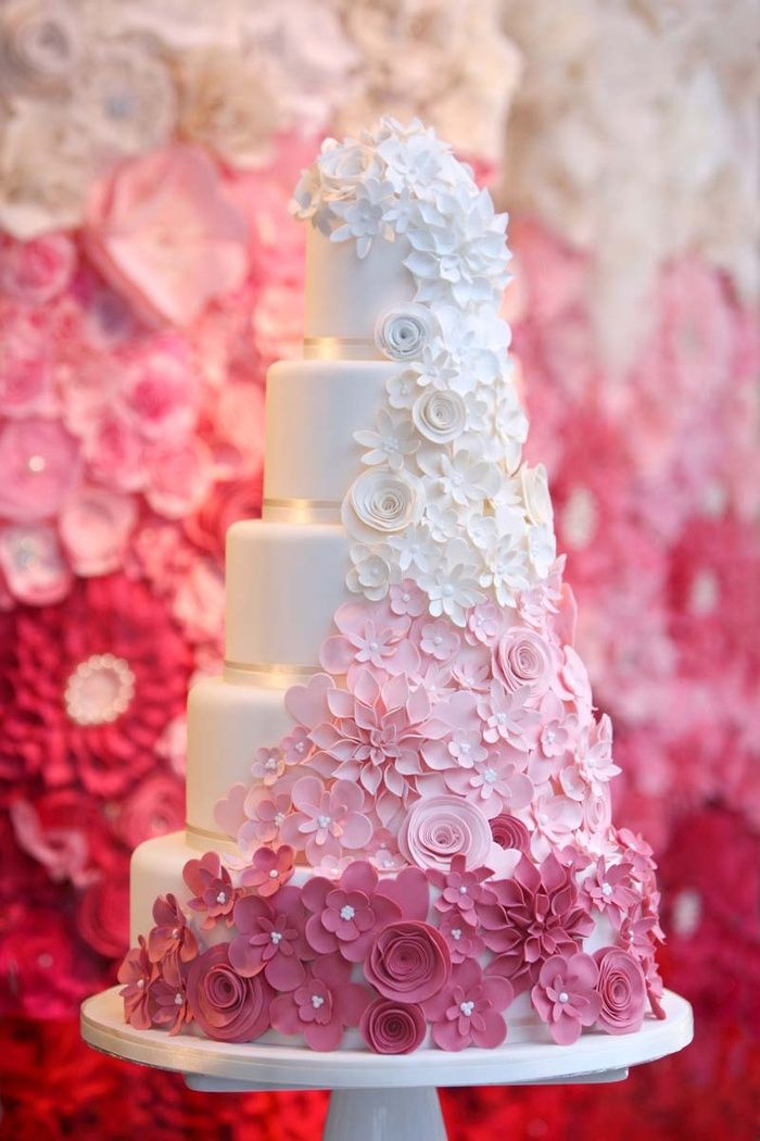 Ombre shades of white to pink cascading wedding cake by Cake Maison Beautifully captured by Danni Beach Photography