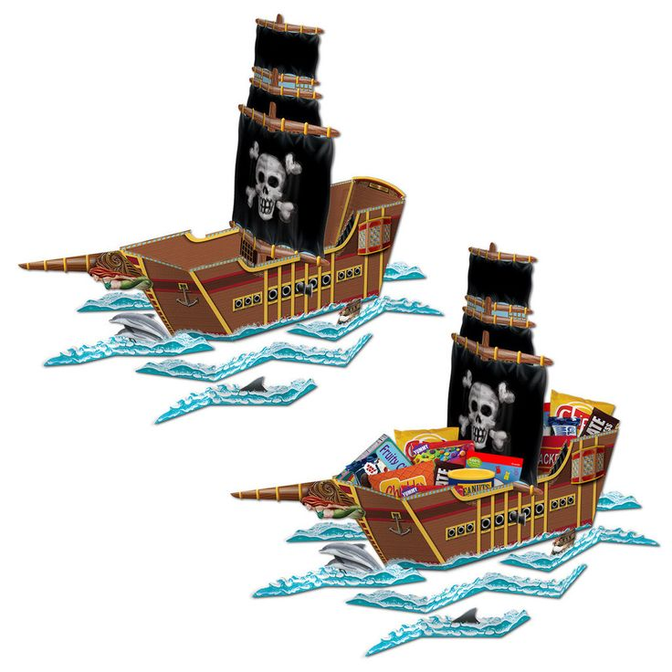 """Pirate Ship Centerpiece Includes: (1) themed 18"""" x 26"""" cardboard centerpiece. Adult assembly required. Weight (lbs) 0.39 Length (inches) 24.5 Width (inches) 14.5 Height(inches) 0.5"""