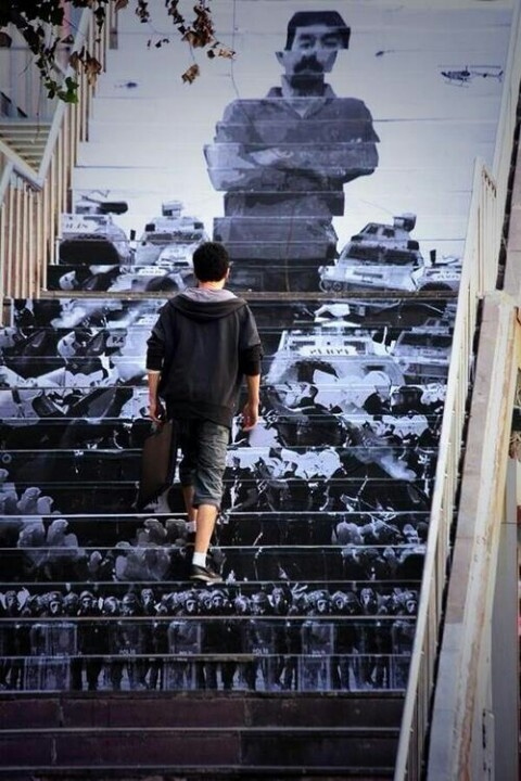 Painted stairs for Ethem Sarisuluk who has been shot by a police officer and lost his life during the protest
