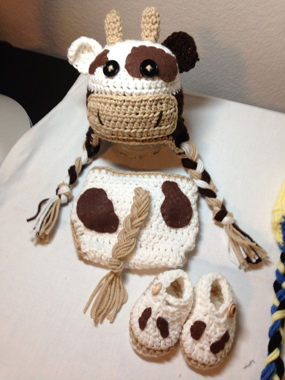 Crochet NB through 12 mos cow outfit, cow hat, cowprint diaper cover and booties photography prop for boy and girl on Etsy, $41.00