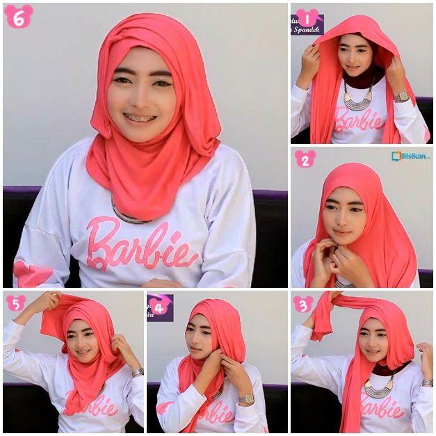 Tutorial Hijab Pashmina Spandek Wajah Bulat/Wide Shawl Spandek Hijab Tutorial For Round Face