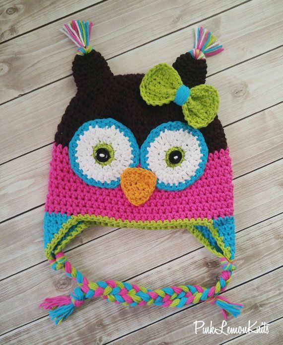 Owl hat crochet owl hat girl winter hat by PinkLemonKnits on Etsy