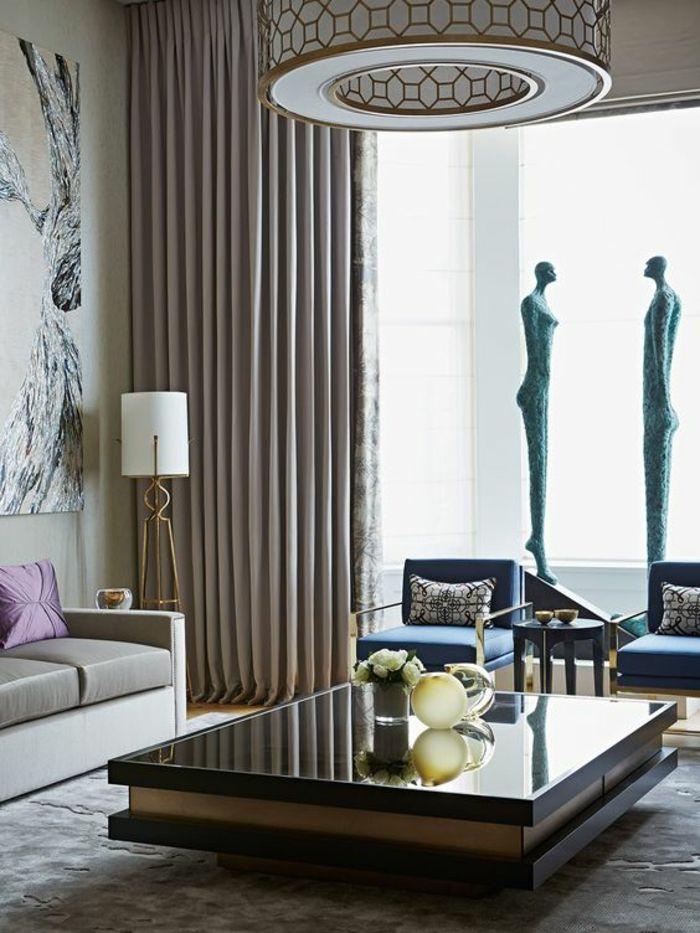 Deco Sejour, Salon Moderne De Luxe, Luminaire En Forme De Tambour, Table  Rectangulaire