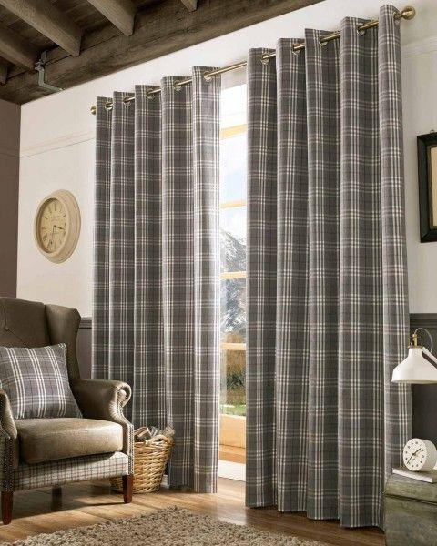 Grey and Cream Tartan Check Eyelet Curtains, 228cm x 137cm