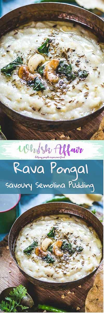 Rava Pongal is a healthy South Indian breakfast recipe made using rava or sooji and moong dal. It is also made for the festival of Sankranti. #Indian #Breakfast #Healthy via @WhiskAffair