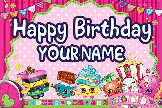 Shopkins Personalized Custom Printed Birthday Backdrop Banner Etsy Shopkins Birthday Party Personalized Birthday Banners Birthday Backdrop