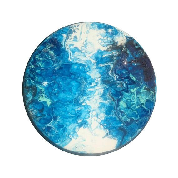 Abstract circular paintingsea colors paintingblue shades