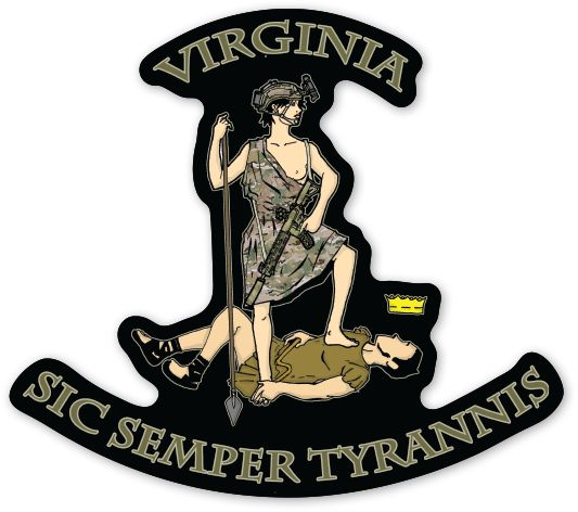 "Member of the Commonwealth? Then you should know ""Sic Semper Tyrannis"" well! This sticker is good for indoor or outdoor use."
