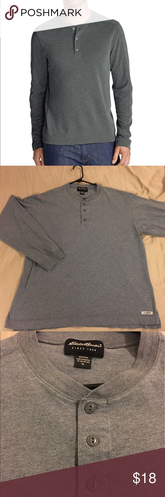 Men's XL Eddie Bauer Grey Henley Shirt Nice Men's XL Eddie Bauer Grey Henley Long Sleeve Shirt! Slightly worn no holes or stains! *modeled pic is for fit reference and may be slightly different from actual item for sale Eddie Bauer Shirts Tees - Long Sleeve