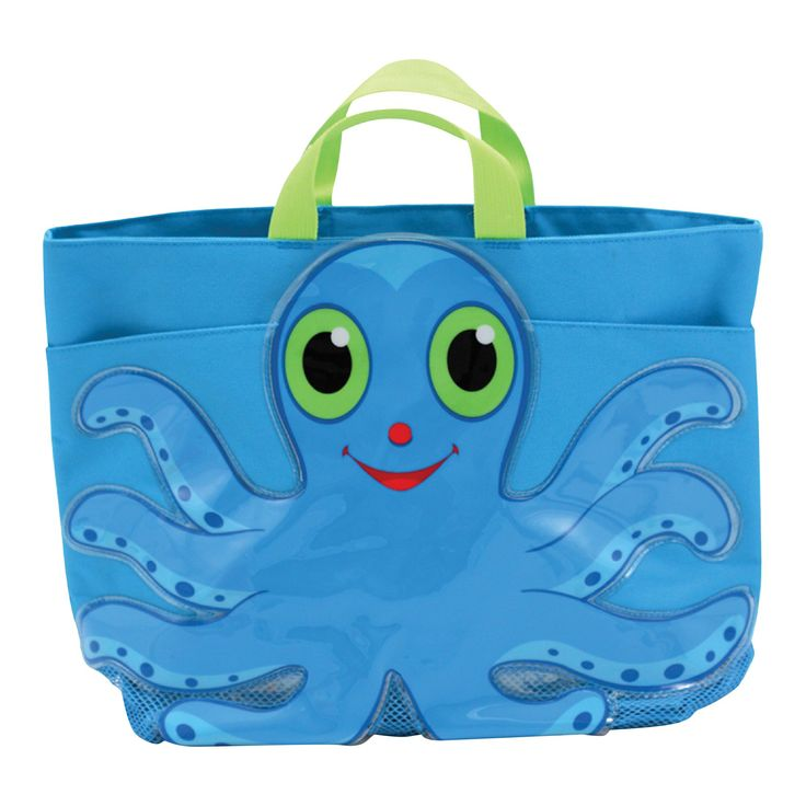 Melissa & Doug Sunny Patch Flex Octopus Large Beach Tote Bag With Mesh Panels, Infant Girl's, Blue