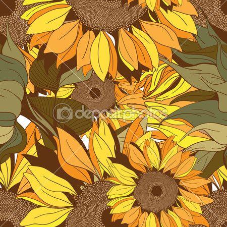 Бесшовный узор вектор от цветы и листья подсолнечника — Stock Illustration #25789299