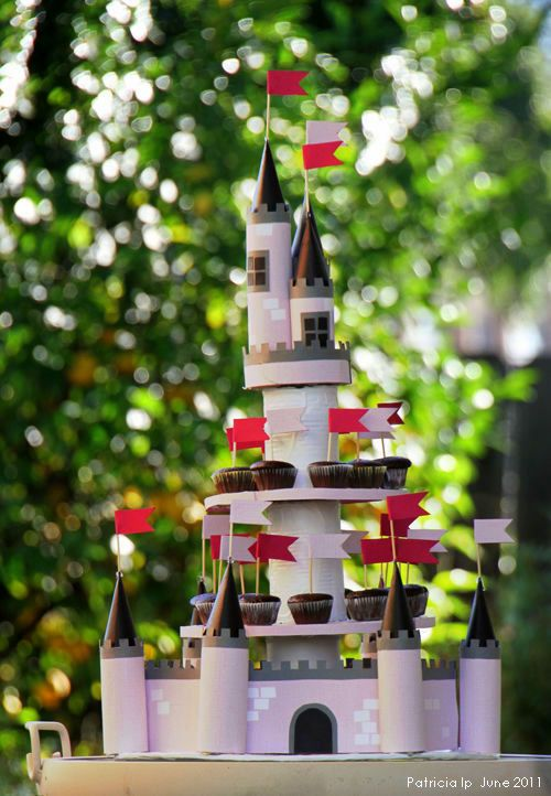 Post with many links to DIY cake stands. This castle one is my fave!