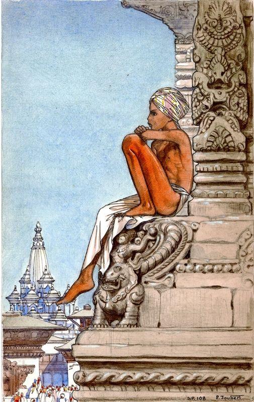 Illustration à la mine de plomb, encre de chine et aquarelle pour le Kim de Kipling.