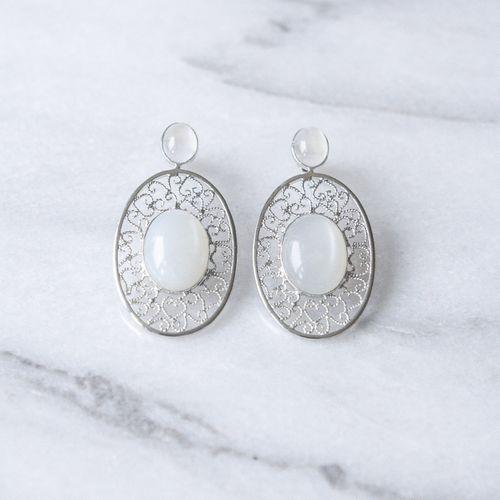 "Filirose ""Filipa silver Earrings white"" - Minimalistic, elegant fine jewelry with Portuguese filigree Earrings in filigree with natual stone - moonstone"
