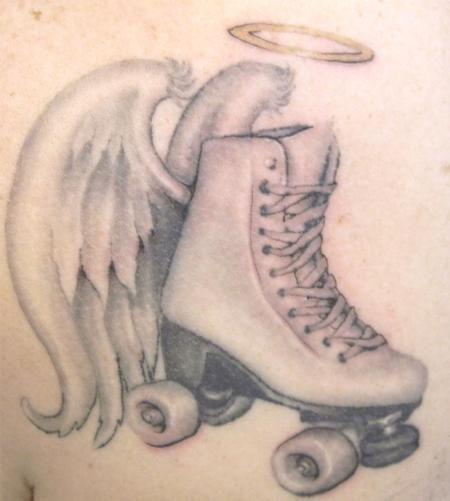 skate tattoos tattoos galen luker page 11 black and grey roller skate tattoo moon me. Black Bedroom Furniture Sets. Home Design Ideas