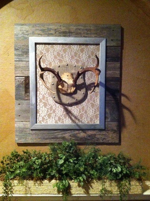 Rustic Barn Wood, Burlap, Lace, Juntastic Deer Antler Mount with Antlers on Etsy, $105.00
