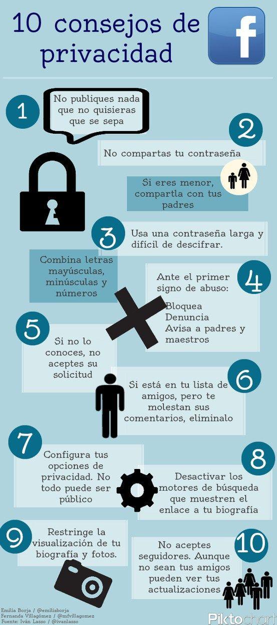#Infografia #RedesSociales 10 consejos sobre privacidad. #TAVnews