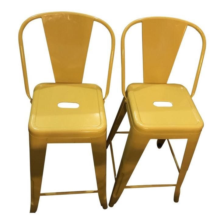 Bright Yellow Metal Bar Stools - A Pair | Leather dining ...